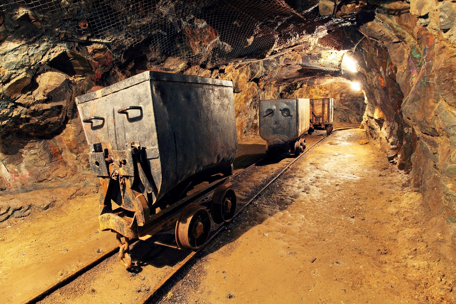 Coleman Alberta hotels Mining cart in silver, gold, copper mine
