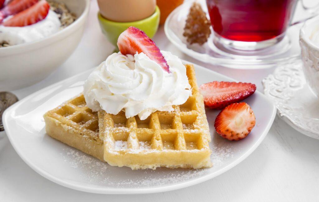 Waffles for breakfast at Hinton restaurant